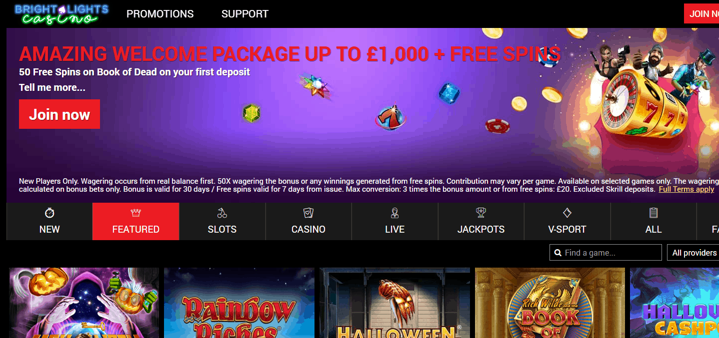 Bright Lights Casino Home page