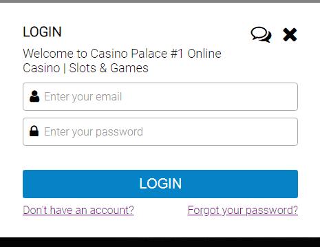 Casino Palace Login Page