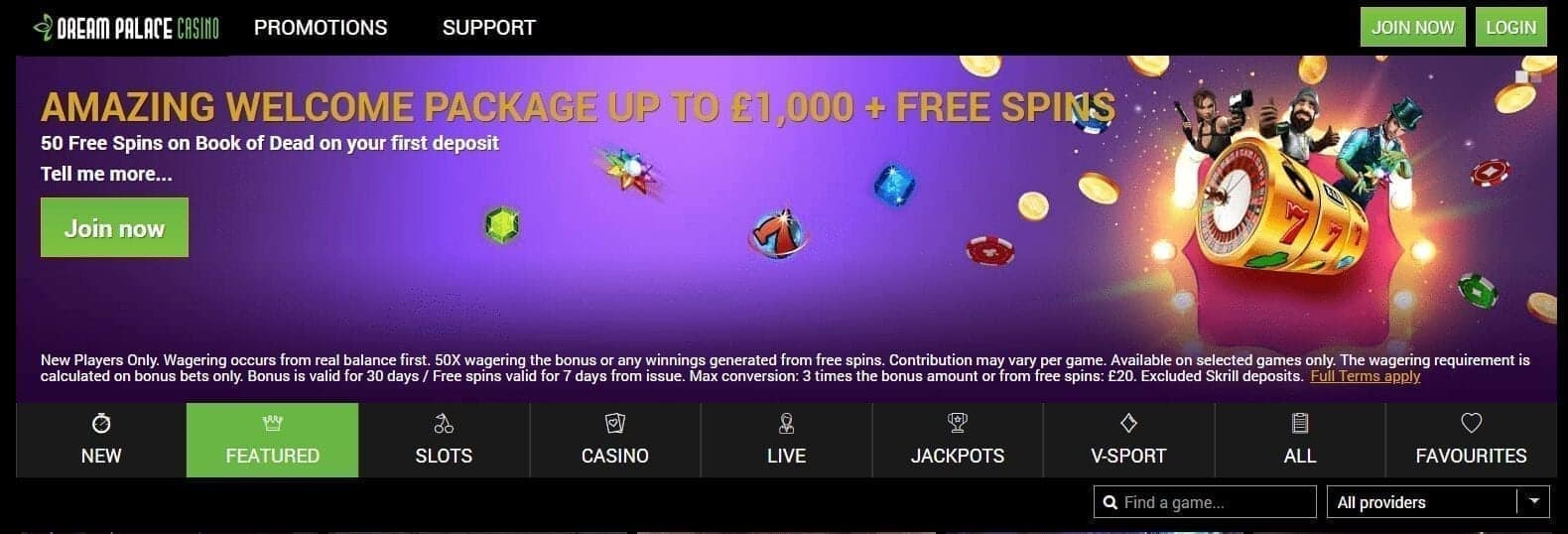 Dream Palace Casino Home Page