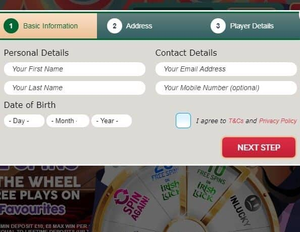 Lucky Wheel Bingo signup page