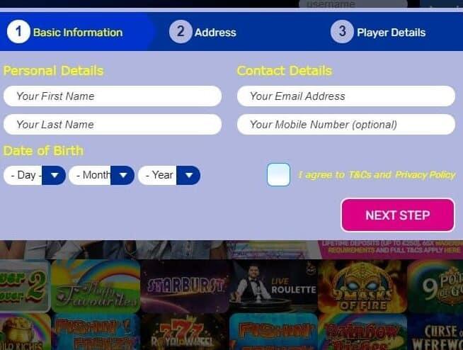 My Stars Bingo sign up