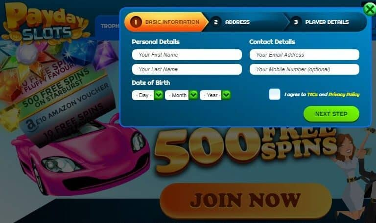 Pay Day Slots signup