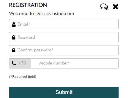 Dazzle Casino Registration image