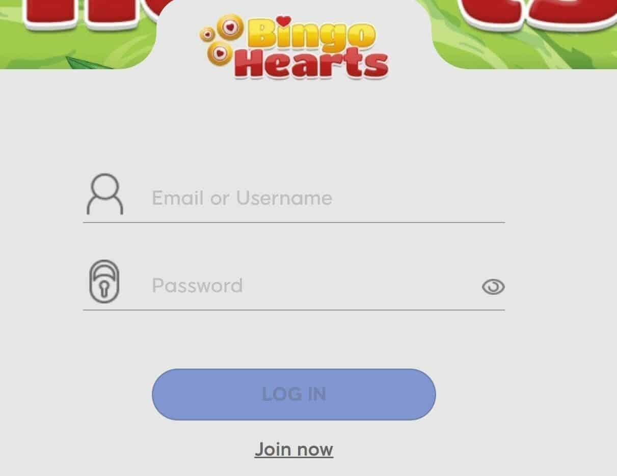 bingo hearts login