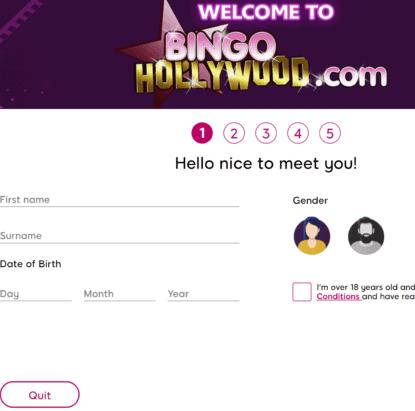 bingo hollywood sign up