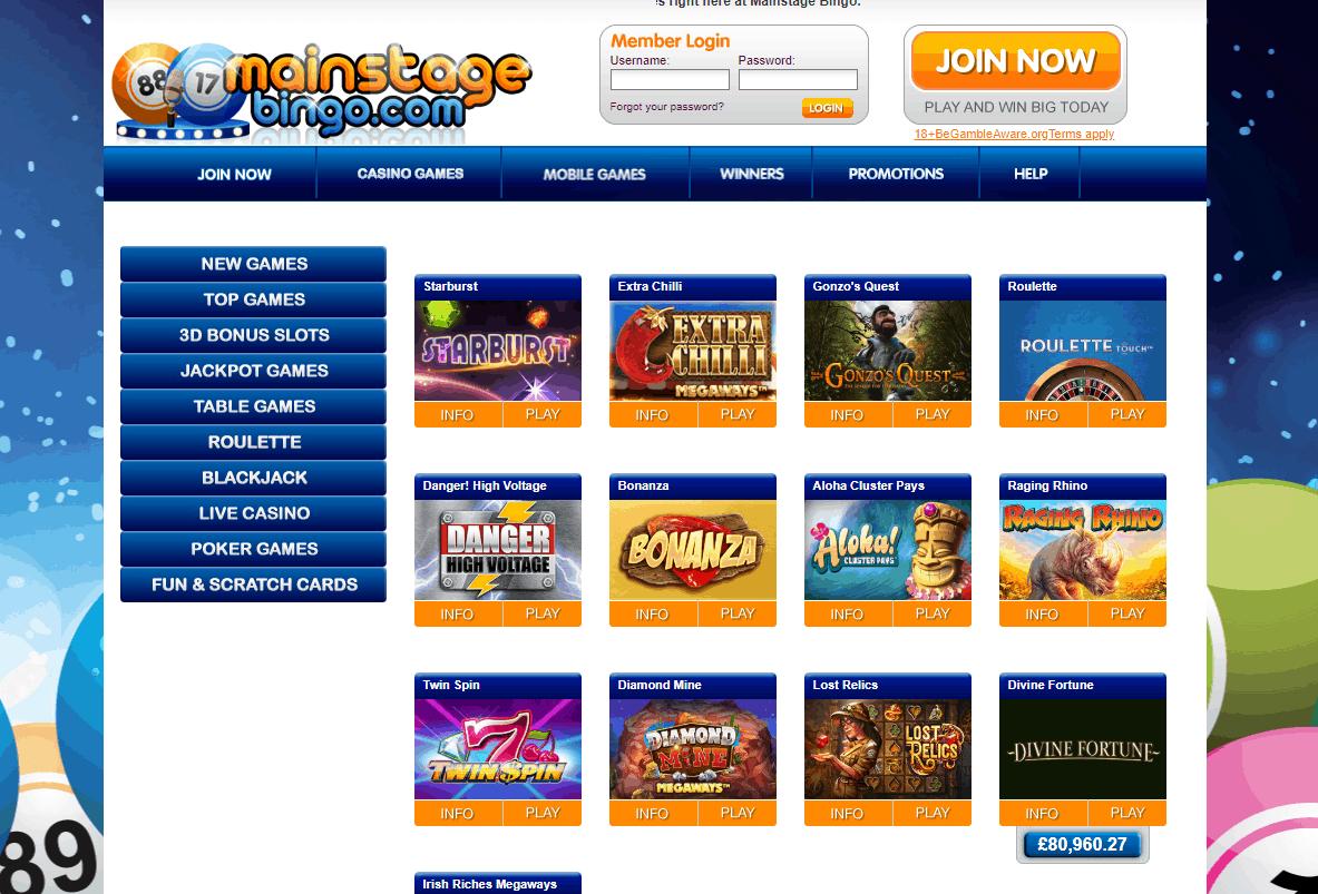 mainstage bingo games