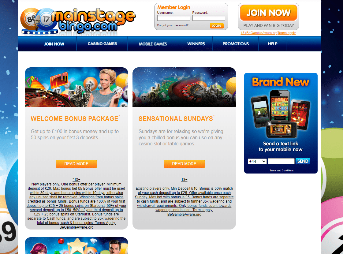 mainstage bingo promotiond