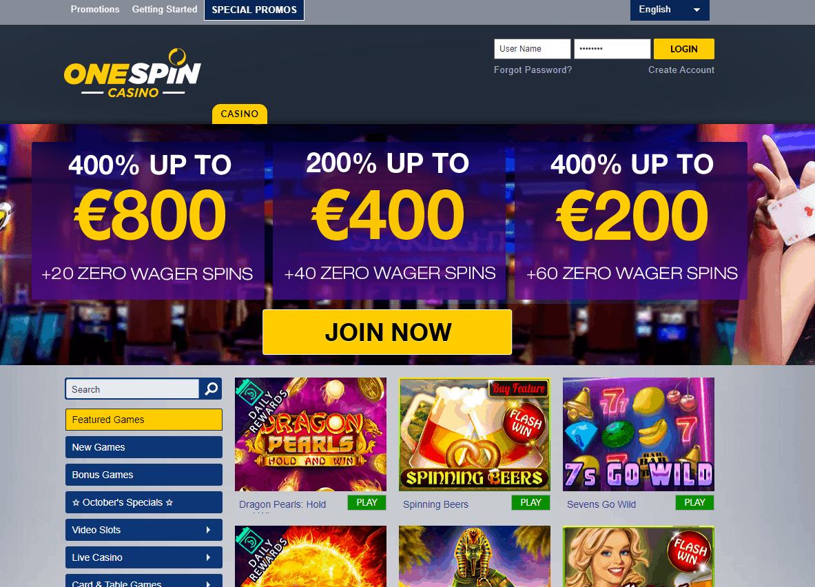 one spin casino home page