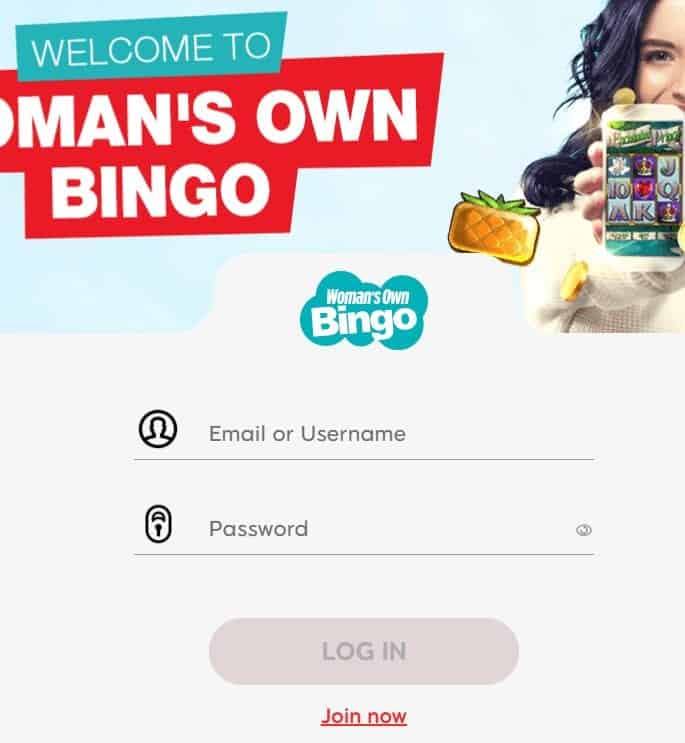 womans own bingo login