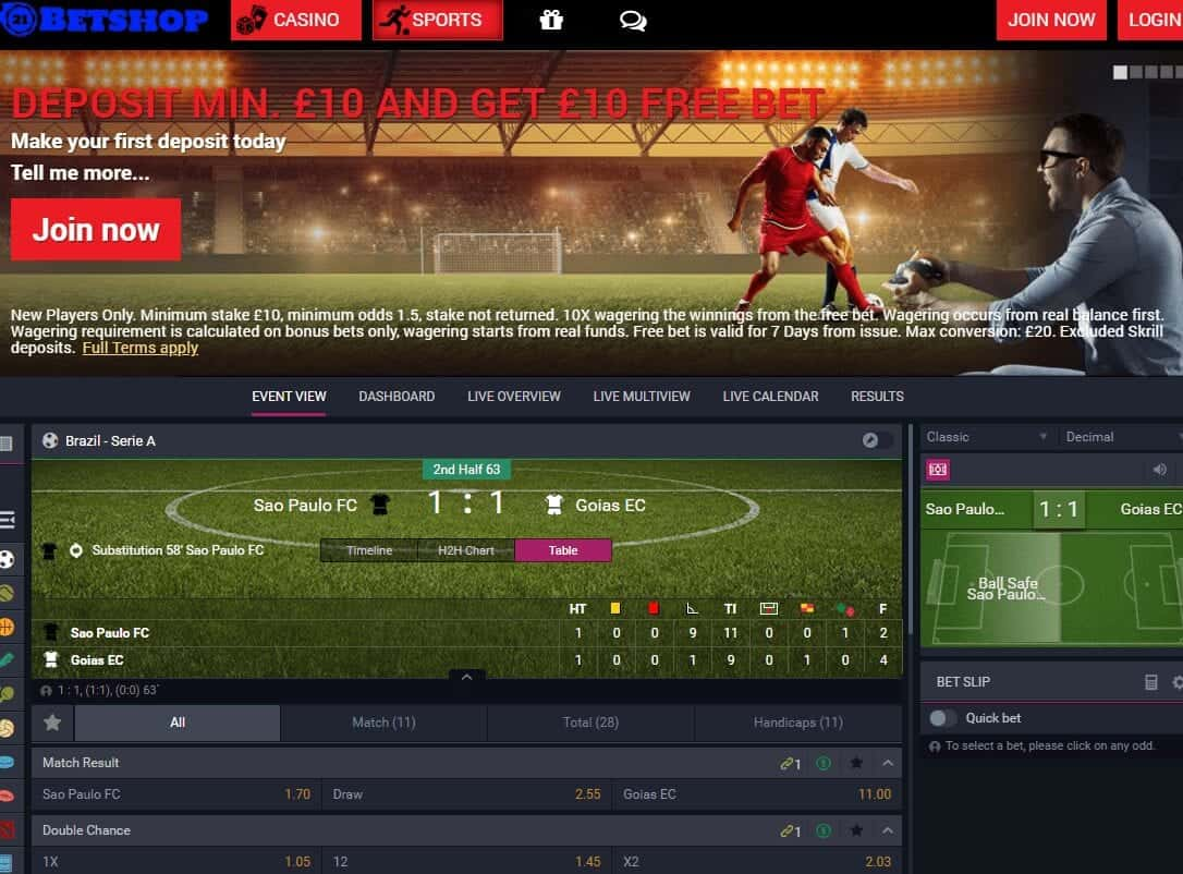 21 bet shop home page