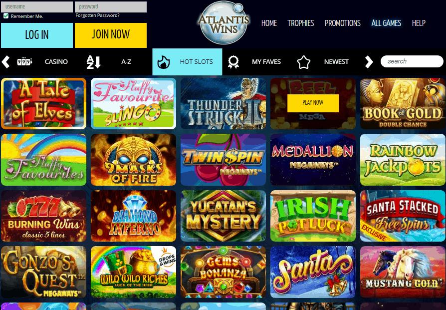 Atlantis Wins game page