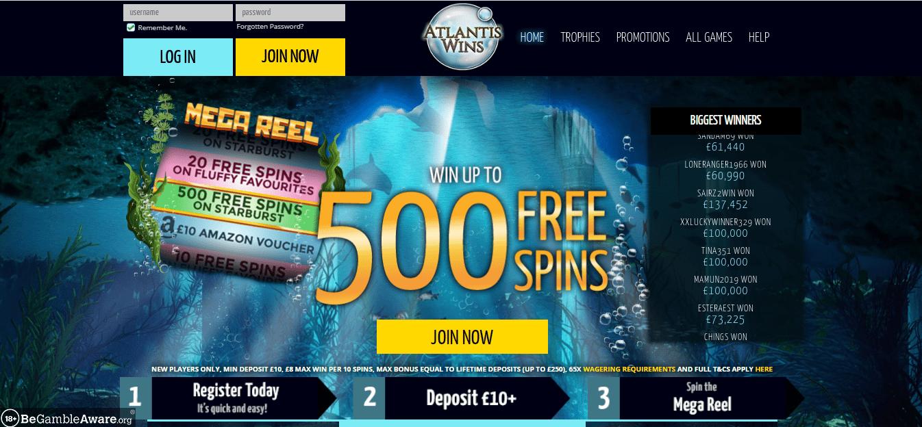 Atlantis Wins homepage