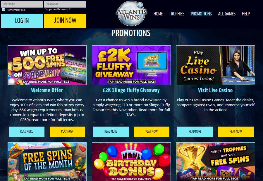 Atlantis Wins promotion page
