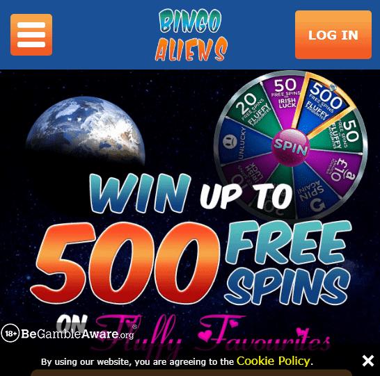 Bingo Aliens Front Page
