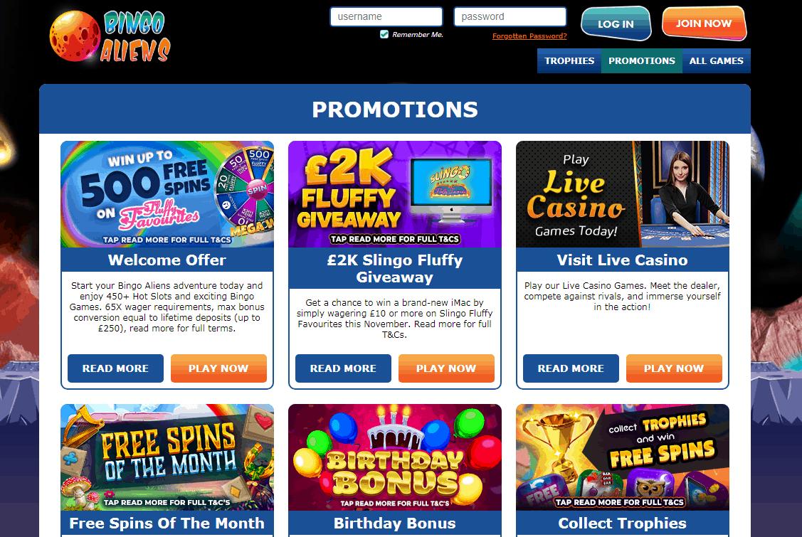 Bingo Aliens Promotions