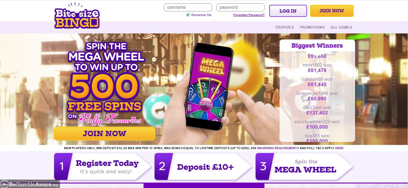 Bite Size Bingo Home Page