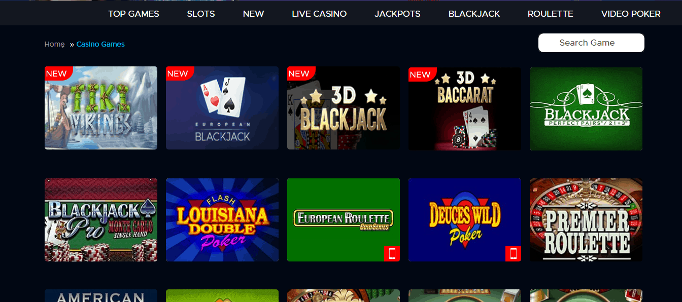Blue Fox Casino gamepage
