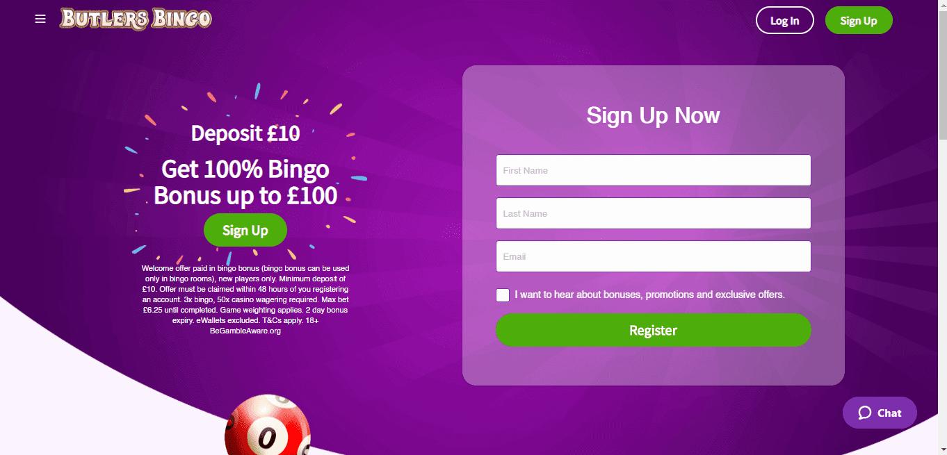 Butlers Bingo home page