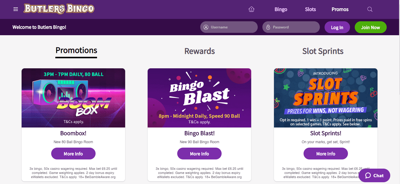 Butlers Bingo promotion page