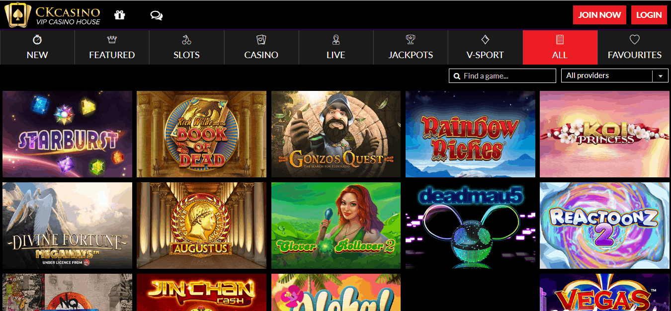 CK Casino Game page
