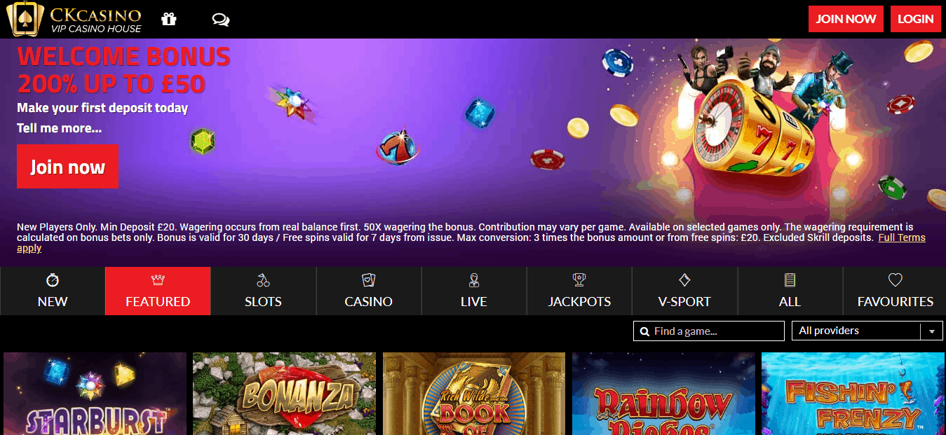 CK Casino Homepage