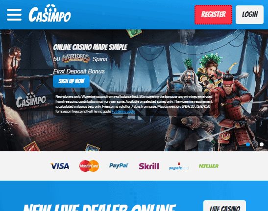Casimpo front page