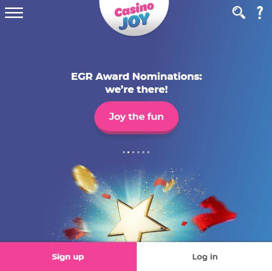 Casino Joy Front page