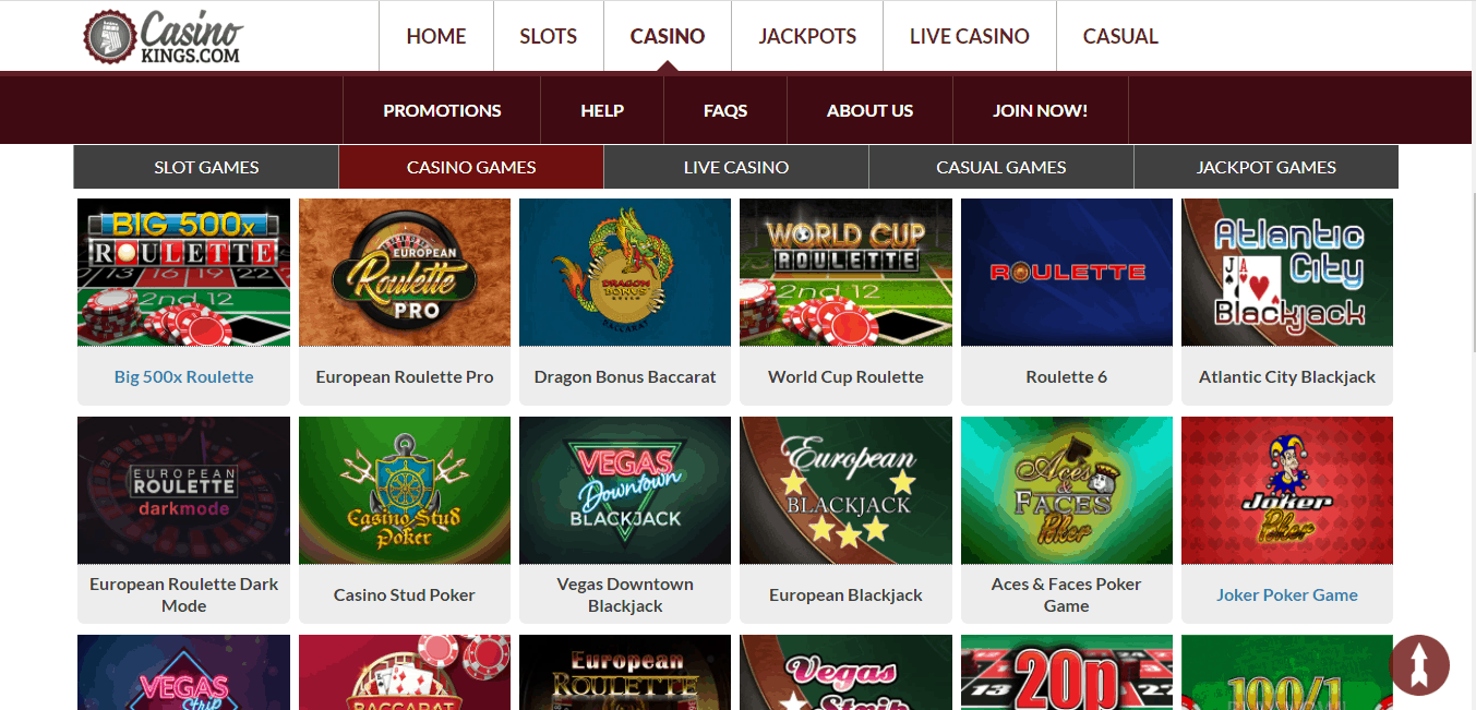 Casino Kings game page