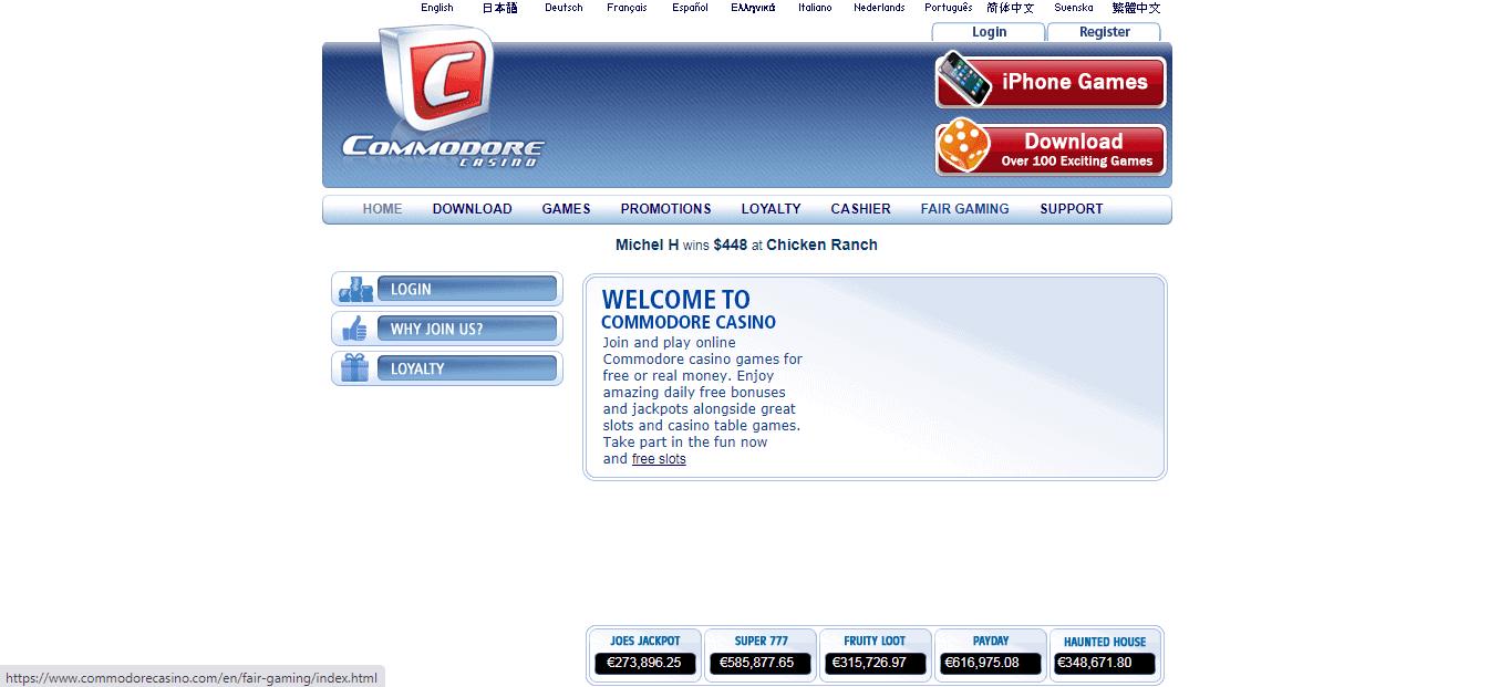 Commodore Casino Homepage