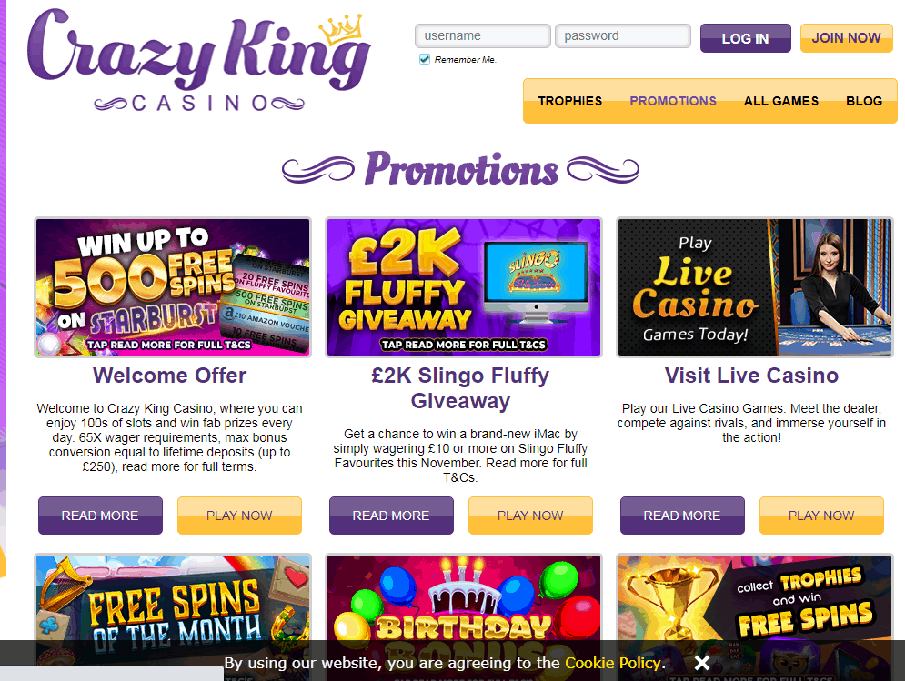 Crazy King Casino Promotions