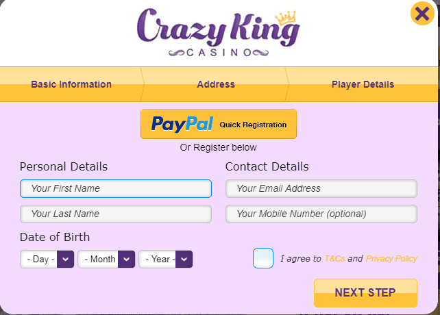 Crazy King Casino Sign Up