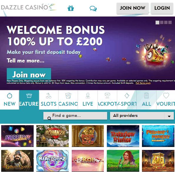 Dazzle Casino Front page