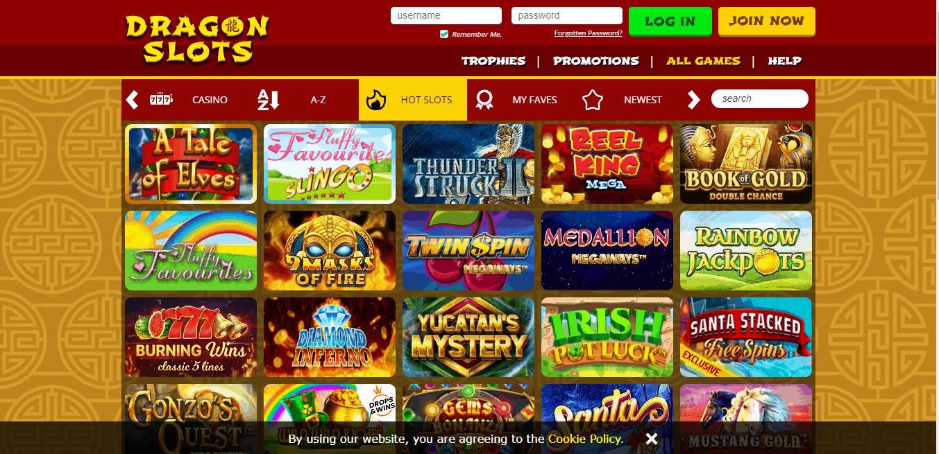 Dragon Slots game page