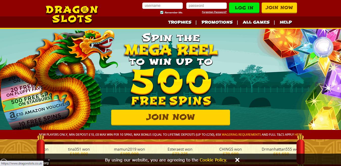 Dragon Slots home page