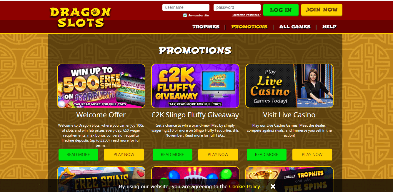 Dragon Slots promotion page