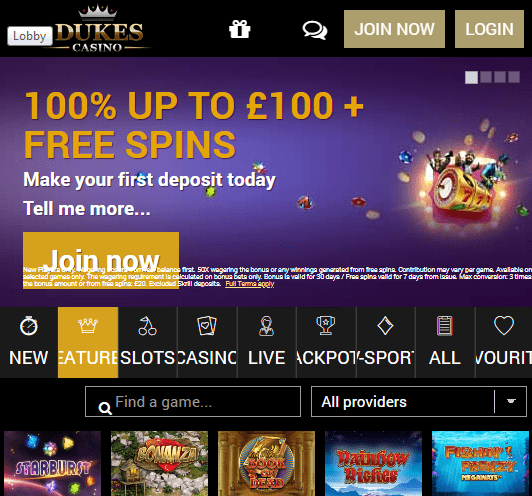 Dukes Casino Front Page