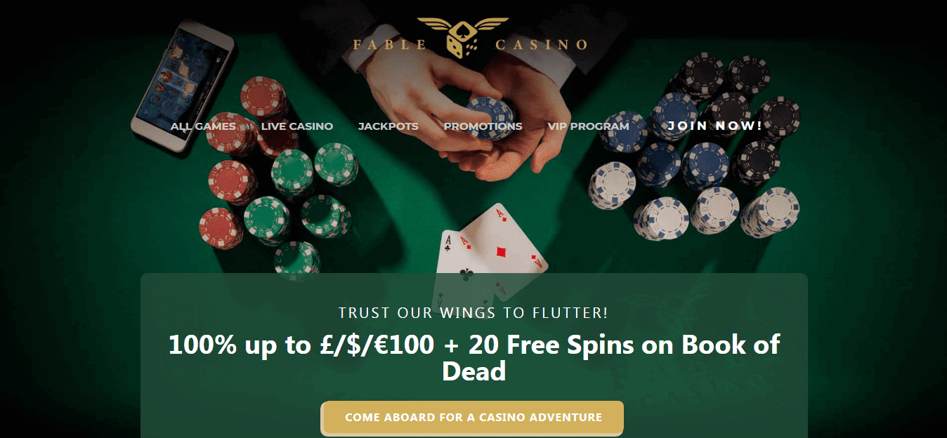 Fable Casino homepage