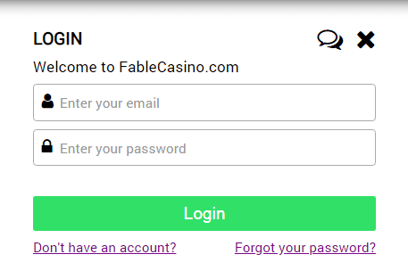 Fable Casino login page