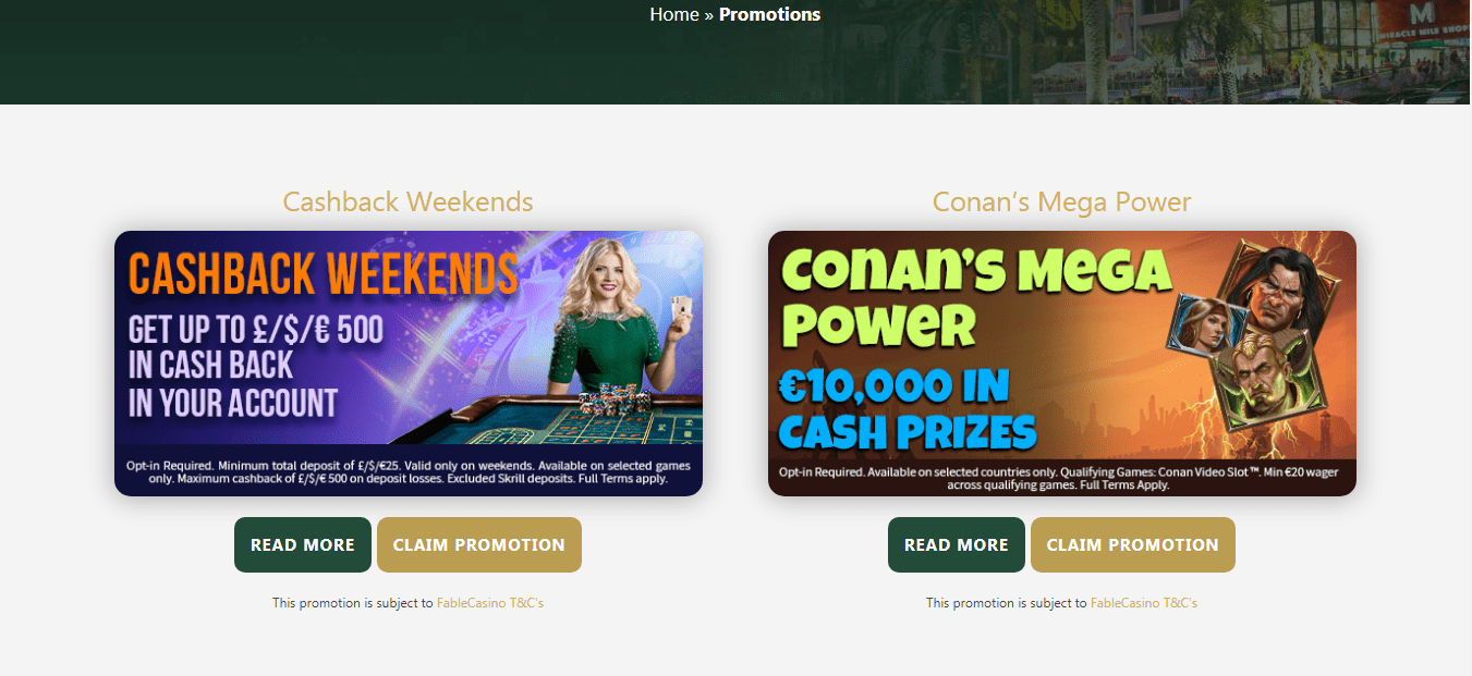 Fable Casino promotion page