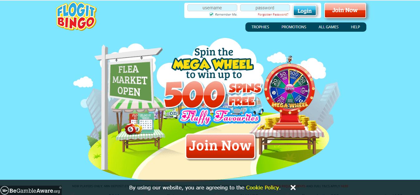 Flog It Bingo Home page
