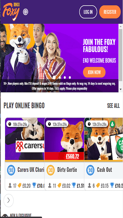FoxyBingo home mobile