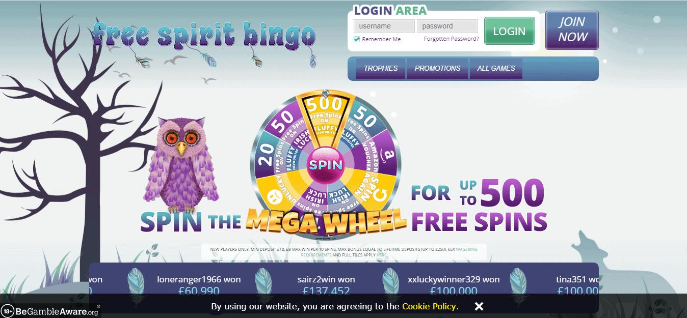 Free Spirit Bingo home