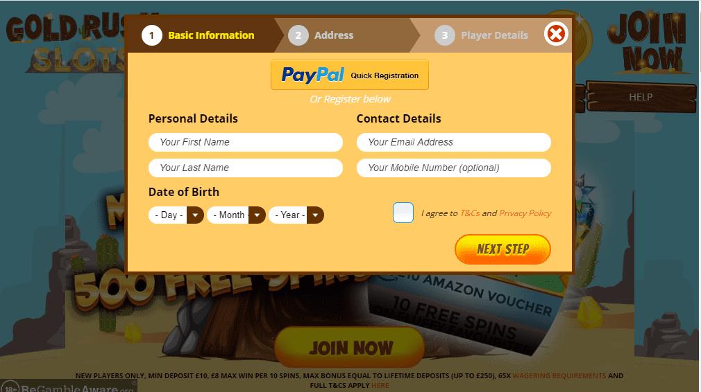 Gold Rush Slots signup