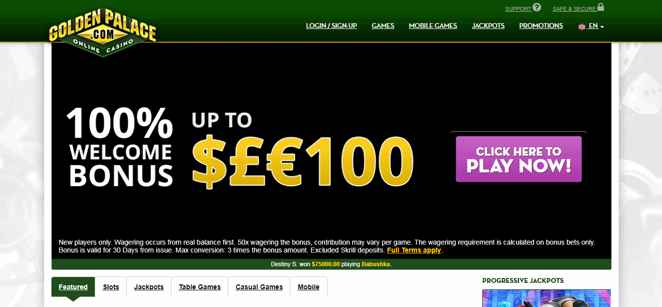 Golden Palace Homepage