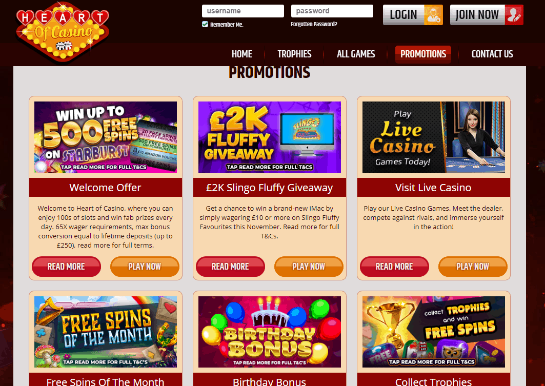 Heart of Casino Promotions
