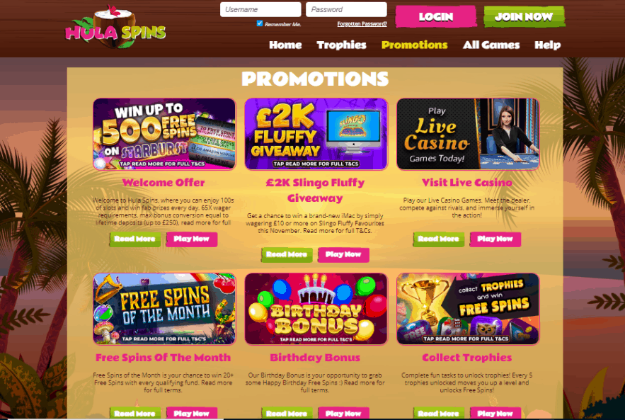 Hula Spins promotions