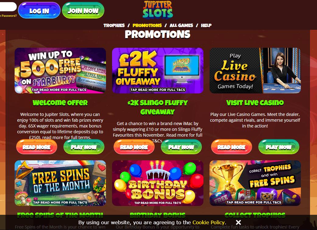 Jupiter Slots Promotions