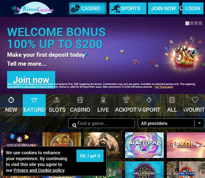 Kimo Casino Front Page
