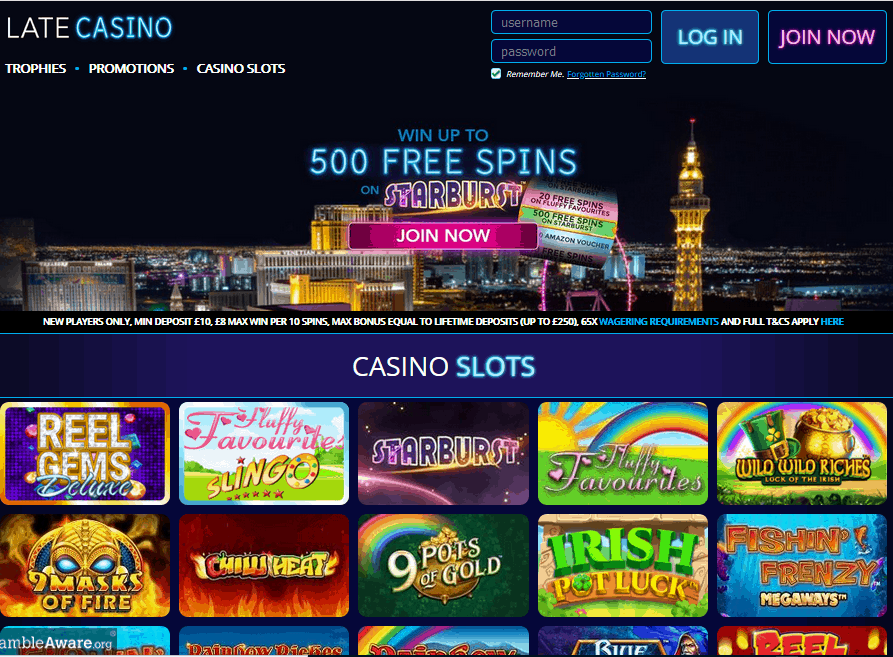 Late Casino home page