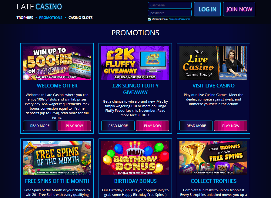 Late Casino promotions